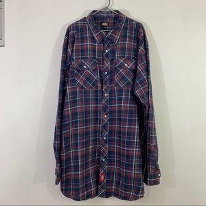 Dickies Shirt Men Snap Front Plaided Casual Shirt
